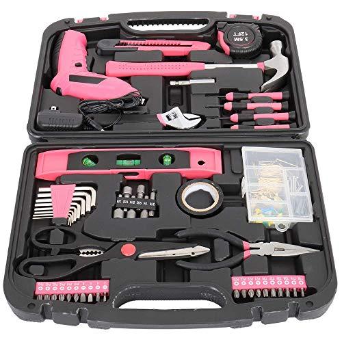 HAOKAN Kit de herramientas para el hogar de 149 piezas, kit de herramientas manuales de reparación del hogar con caja de herramientas portátil, juego de destornilladores rosados