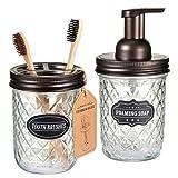 SheeChung - Juego de Accesorios de baño (2 Unidades), Vidrio, marrón, Soap Dispenser & Toothbrush Holder