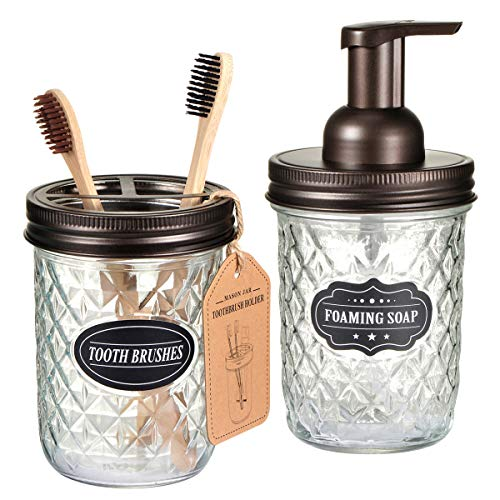 Mason Jar Bathroom Accessories Set - Includes Mason Jar Foaming Hand Soap Dispenser and Toothbrush Holder - Rustic Farmhouse Decor Apothecary Jars Bathroom Countertop and Vanity Organizer (Bronze)
