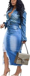 Women's Distressed Ripped Denim Jeans Midi Bodycon Skirt High Waist Slit Pencil Skirts