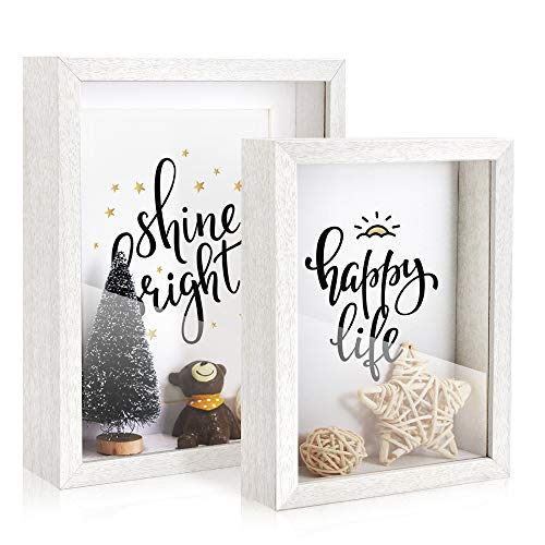 Afuly White Shadow Box 6x8 and 5x7 Simple Wooden Deep Photo Frames Freestanding or Wall Hanging Cards Tickets 3d Case Baby Shower, set of 2