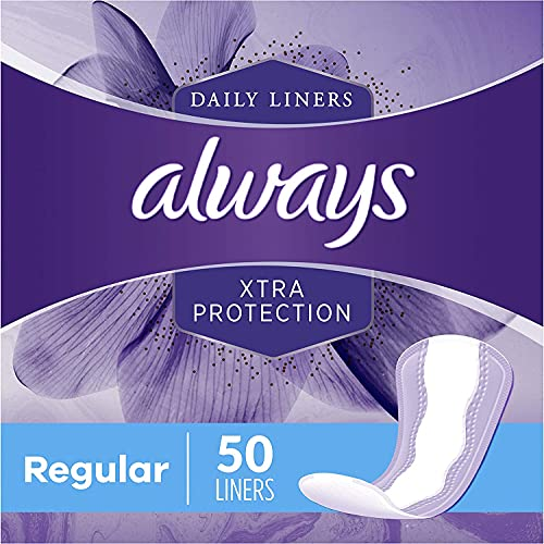 Always Xtra Protection Daily Feminine Panty Liners for Women, Regular, Unscented, 50 Count - Pack of 6 (300 Total Count)