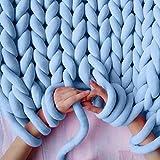 Lana Hilo Multicolor Soft Bulky brazo punto lana Roving ganchillo DIY mano Chunky–Colcha de punto (techo para gigante klobig Sticken lanzar sofá techo, Azul, 60M