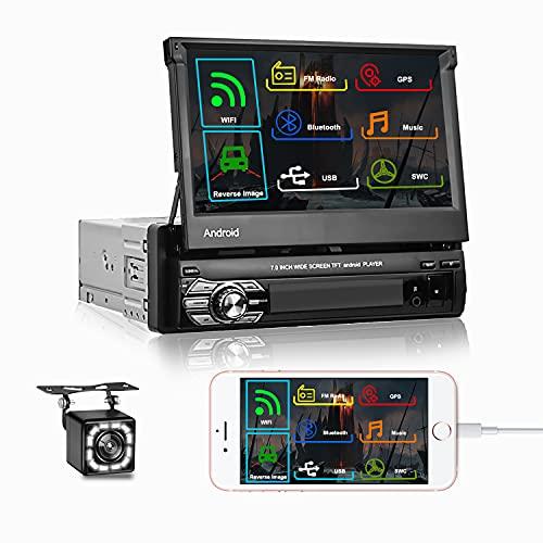 Camecho Autoradio 1 Din Bluetooth Radio 7 pollici Android GPS Autoradio 1 Din con Navigazion, Supporto FM Radio USB  Specchio Collegamento