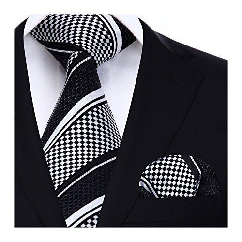 HISDERN Panuelo de lazo a rayas de boda Panuelo de hombre y conjunto de bolsillo de cuadrada Negro/blanco