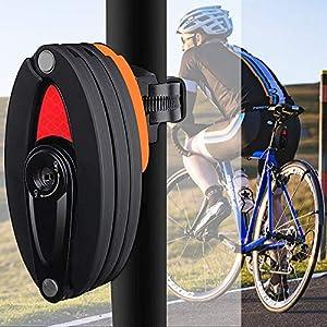 WOTOW Candado plegable para bicicleta con soporte, nivel de seguridad 10 alturas con 3 llaves para bicicleta de montaña, BMX, MTB, color negro, Negro