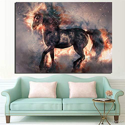 Puzzle 1000 piezas Pintura art deco de caballo de dibujos animados en floración artística puzzle 1000 piezas paisajes Juego de habilidad para toda la familia, colorido juego d50x75cm(20x30inch)
