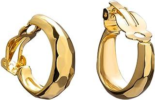 FAMARINE 14K Gold Cut Hoop Clip on Earrings for Women, Geometric Chunky Earrings Girls Gift, Gold Sliver