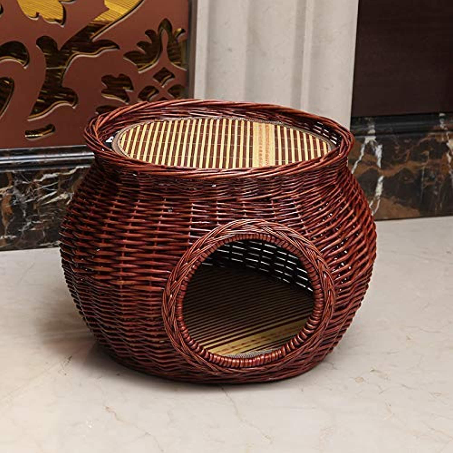 Handmade Rattan Wicker Basket Cat Bed Cave Dog House Pet Home Rattan Furniture Kennel Two Level Cat Houses Cushion RedBrown color(Size L