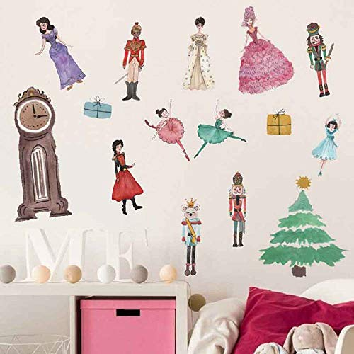 Princess Prince Christmas Tree Wall Stickers With Gift Bags Wallpaper Cartoon Decorative Wall Decal