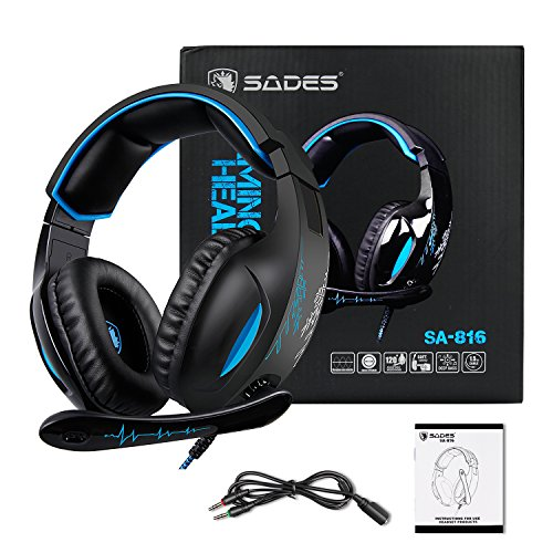 Gaming Headset Para PS4 New Xbox One PC Controlador, Sades SA816 Over-Ear Surround Sonido Auriculares Pro Gaming Auriculares con micrófono Volumen 3.5 mm Negro Azul