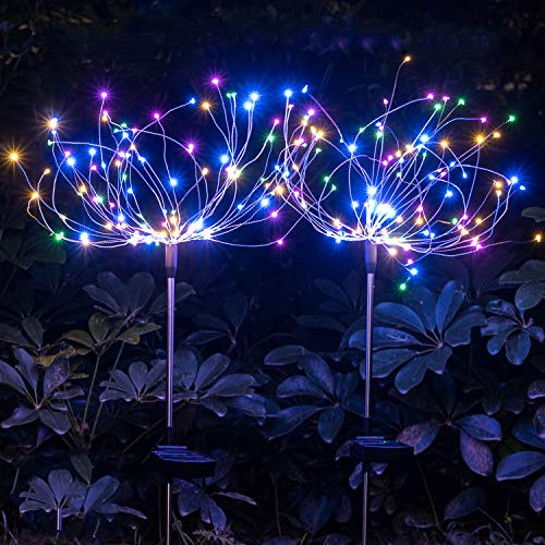 Solar Garden Decorative Lights Outdoor -Mopha Solar 120LED Powered 40Copper Wires String Landscape Light-DIY Flowers Fireworks Trees for Walkway Patio Lawn Backyard,Christmas Party Decor(Multi-Color)