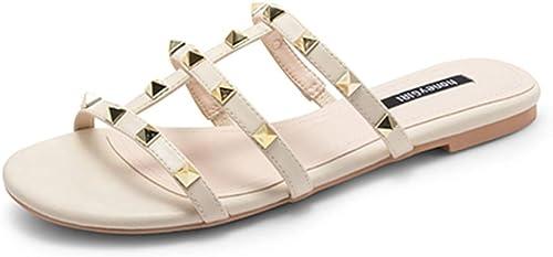 Porter des Sandales d'été pour Les Sandales pour Femmes, Chaussons de Plage, Bord de mer, Chaussures à Crampons, Vacances, Mode Quotidienne, Un Mot, tête Ronde, Fond Plat, Confortable