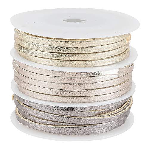Dekoband, Kunstleder, metallic, 2,5mm breit, je 1,5m lang, versch. Designs & Farben, 3 Rollen