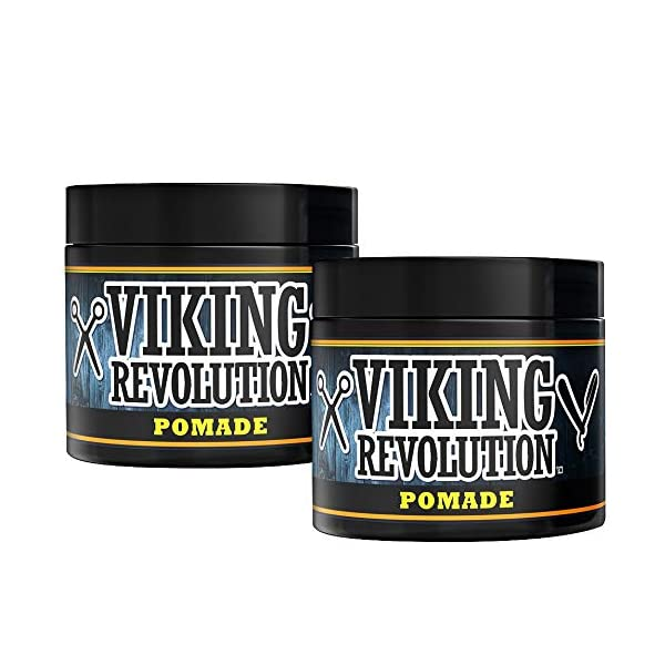 Pomade for Men 4oz - Firm Strong Hold & High Shine for Classic Styling - Water Based & Easy to Wash Out by Viking… 1