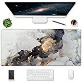 HOMKUMY Extended Gaming Mouse Pad, 35.5x15.75 Non-Slip Large Desk Pad Mousepad with Stitched Edges Waterproof Keyboard Mouse Mat Desk Protector for Game, Office and Home, Gray Ink Marble