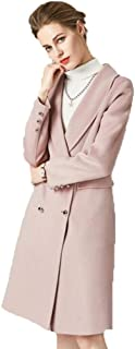 Women's Double-Faced Coat in Long Wool Coat high-Grade Water Wave Double-Sided Coat Warm Coat (Color : Pink, Size : M)