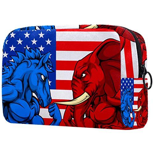 Bolsas de Maquillaje Estuche multifunción para Organizador de Bolsas de cosméticos de Viaje portátil Bandera Americana Azul Burro y Elefante Rojo. con Neceser con Cremallera para Mujer