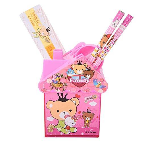 Oucity Portalápices bonito soporte de madera, soporte para bolígrafos de plástico, estructura robusta (rosa) (casa rosa, 10,5 x 6,5 x 7,5 cm (100 g))