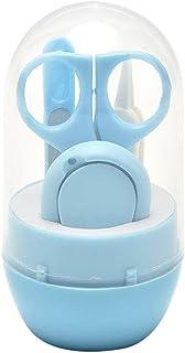 NaiCasy 1set (4pcs) Kit para bebés y estética niños prácticos Conjunto de manicura de uñas Caja Recortadora con uñas Vidrio de Archivos Pinzas Tijera Azul, de enfermería y la alimentación