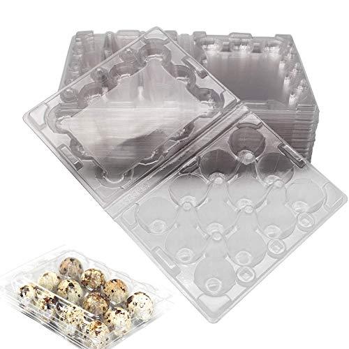 50 Stück Wachtelei-Schachteln, 12 Gitter Wachtelei-Kartons PVC-Eierhalter Transparente Eierschalen mit Deckel Eier Aufbewahrungsbox für Kühlschrank