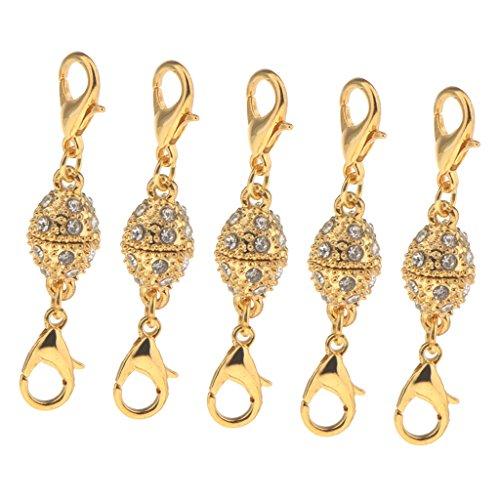 Bonarty Cierres Magnéticos de Bola de Cristal Ovalada de 5 Piezas con Lados Gancho de Langosta Sujetador de Joyería Gancho de Garra Diamante de Imitación - Oro, Individual