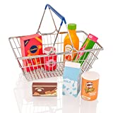 KiddyPlay - Metall-Einkaufskorb & Lebensmittel-Spielset aus Holz