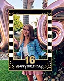 LaVenty Black Gold 16th Birthday Party Photo Booth Props 16th Birthday Photo Frame Sweet 16 Birthday Photo Frame
