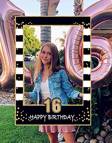 JeVenis Puntelli per Foto 16 ° Compleanno Festa in Oro Nero 16 ° Compleanno Cornice per Foto Dolce 16 ° Compleanno Cornice per Foto