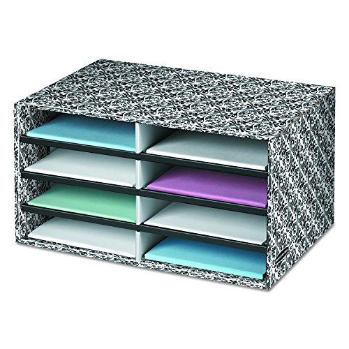 Bankers Box Decorative Eight Compartment Literature Sorter, Letter, Black/White Brocade (6171302)