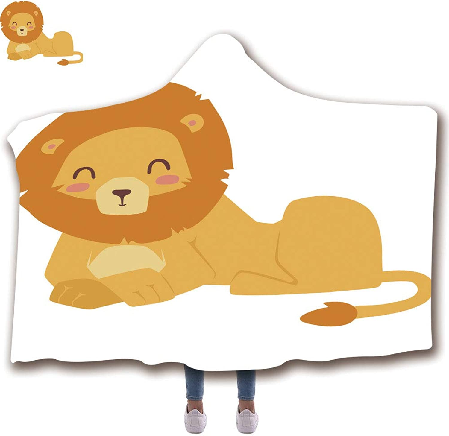 Hooded Blanket for Adults (59  H x 79  W) Wearable Portable Warm Thicken Soft Plush 3D Printed Pattern Throw Hooded Blanket, Cute Lion Cartoon Vector Illustration
