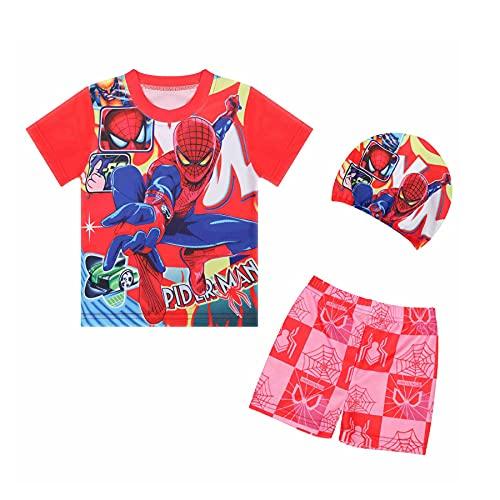 MYYLY Spiderman Maillot Bain Cosplay Enfant Sports Nautiques Hawaïen Trois Pièces Shorts Manches Combinaison Beachwear Surfsuit Plage Vacances Maillots,Red-M Kids (115~125CM)