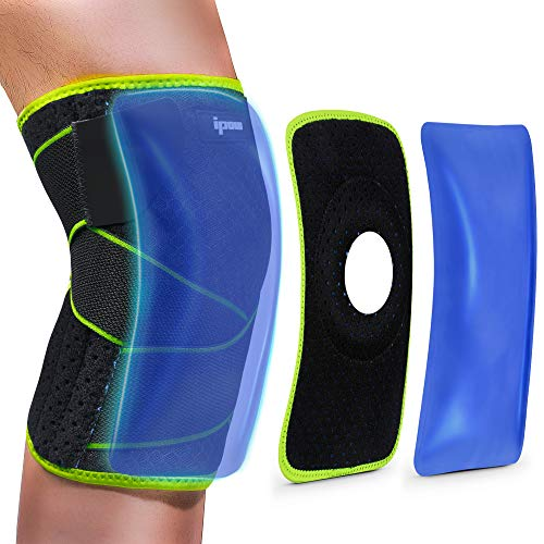 Knee Brace, IPOW Multifunctional Cold/Hot Gel Compression Knee Wrap with Ice Pack & Patella Pad for Knee Support, Running, Arthritis Pain, Tendonitis, ACL, Athletic Injury and Patella Surgery…