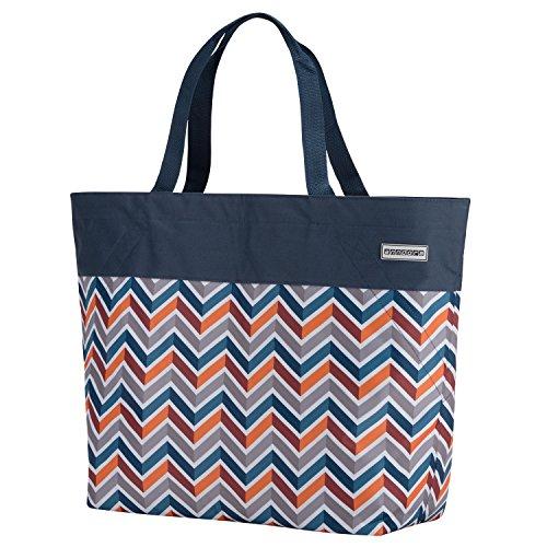 anndora XXL Shopper dunkelblau orange - Strandtasche Schultertasche Einkaufstasche
