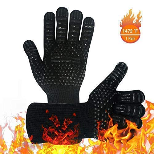 Warome BBQ Gloves 1472 °F Heat Resistant Grill Gloves, Food Grade Kitchen Oven Gloves, Silicone Non-Slip Cooking Hot Glove for Grilling, Welding, Baking,Barbecue (Black)
