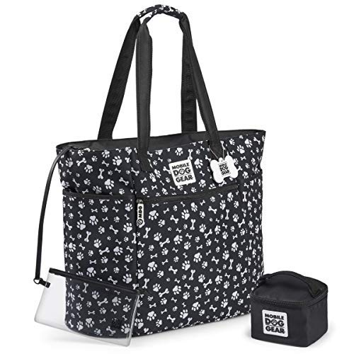 Mobile Dog Gear Dogssentials Dog Tote Travel Bag Carry Items for Both You and Your Dog Includes Lined Food Carrier and Clear Wristlet Pouch Black/White Paw Bone Print