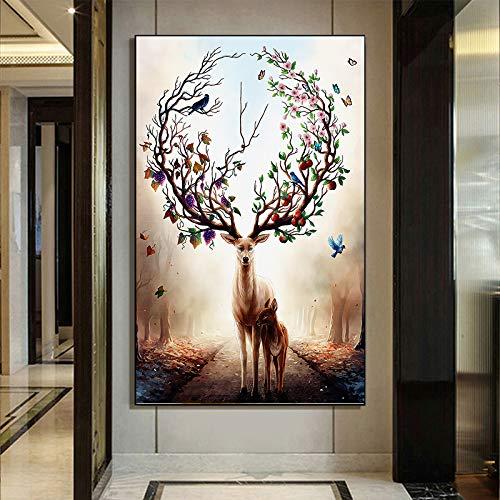 ganlanshu Dekoratives Malplakat des modernen Waldelfenhirschbalkons und kreative Kunstdekoration der Leinwand der Tiermalerei,Rahmenlose Malerei,80x130cm