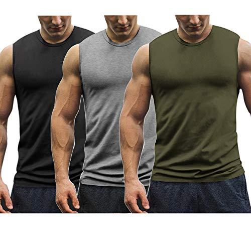 COOFANDY Mens Workout Tank Tops 3 Pack Gym Sleeveless Muscle Tee Bodybuilding Shirts (Medium, 01-Black/Medium Grey/Army Green)
