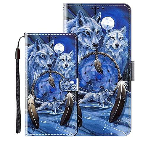 vingarshern Klapphüllen für Huawei Nova 5T Schutzhülle Mit Magnetverschluss Flip Etui Lederhülle Handytasche Huawei Nova 5T Hülle Klappbares Leder Brieftasche,Wolf Muster-2