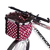 CSPone Panier Vélo Femme Amovible Sac Panier pour Avant de vélo Femme Universel en Toile Cadre en Alliage d'aluminium pour Velo Pliant VTT Sac de Shopping Sac à Main ou Animal
