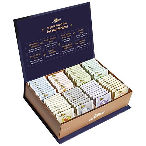 Valdena Bio Organic Tea Line sampler, Gift Box 80 Tea Bags, 8 Beneficial Flavors of Herbal & Unique Teas in Variety Pack