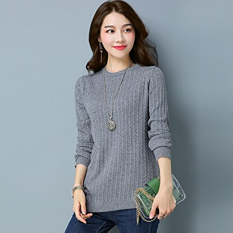 Xuanku Frauen Aus Gewirken Shirt Farbe Entspannt, Fit Fit Fit Pullover Frauen L,Khaki B075F3FKJL  Liste der Explosionen 084299