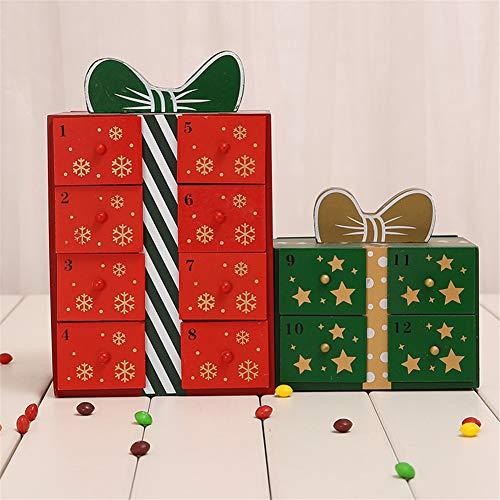 LJW El Color del Cajón Calendario de Navidad Calendario de Adviento Madera A Mano la Decoración de Navidad Regalo Decoración de Escritorio,B