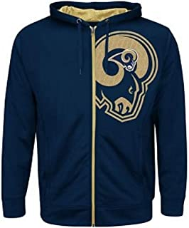 Los Angeles Rams NFL Mens Majestic Coverage Sack Full Zip Hoodie Navy Blue  Big Sizes b30a0258f