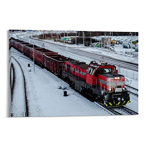 JIELAI Cargo Train Poster dekorative Malerei Leinwand Wandkunst Wohnzimmer Poster Schlafzimmer Malerei 16x24inch(40x60cm)