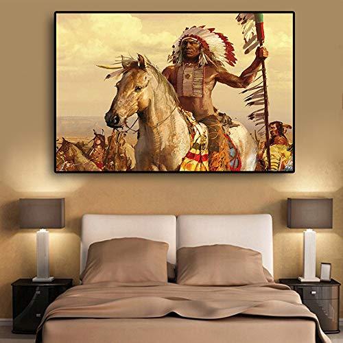 KWzEQ Indische Indigene Pferdefederölgemäldeplakat auf Leinwand,Rahmenlose Malerei,75x112cm