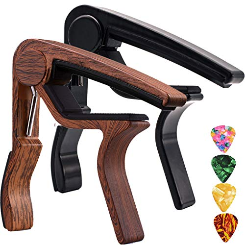 Guitar Capo,2 Pack Capo Black and Rosewood Capo Guitar Clamp Guitar Kapo for Acoustic and Electric Guitar