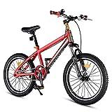 DJYD Kinder-Mountainbikes, High-Carbon Stahl Hardtail Anti-Rutsch-Fahrrad, Doppelscheibenbremse Mountain Trail Bike, Junge Mädchen Alpine Fahrrad, Rot, 18 Zoll FDWFN