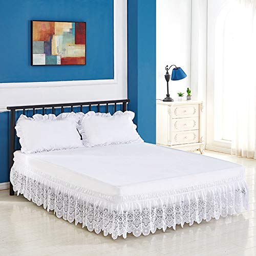 Feyart Wrap Around Lace Bed Skirt, Hollow Jacquard Stretch Dust Ruffle with 15 Inch Drop (White,Double (135 x 190 + 38 cm))