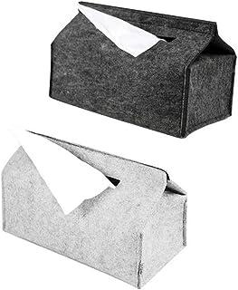 JIANG Caja de pañuelos Caja del Tejido del hogar Bandejas Simple Tejido de Lana Fieltro Caso NegroGris Sólido Toalla de P...